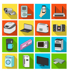 Modern household appliances flat icons in set vector
