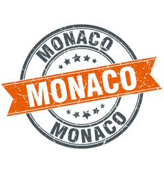 Monaco red round grunge vintage ribbon stamp vector