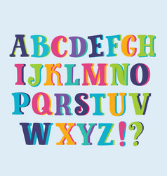 multicolored shiny alphabet with space background vector image