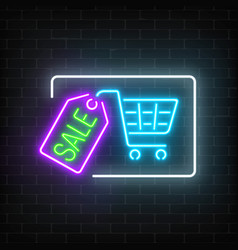 neon glowing sale sign with shopping cart and tag vector image