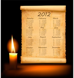 old paper with calendar 2012 vector image