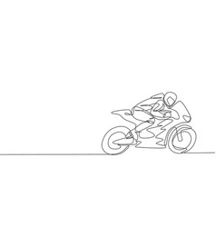 One single line drawing young moto racer vector