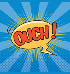 Ouch wording sound effect for comic speech bubble vector