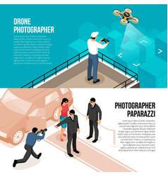 Photographer isometric banners vector