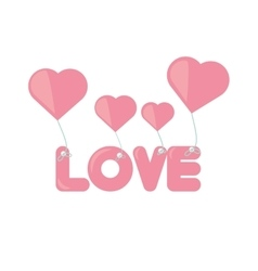 Pink lettering love hearts hanging vector