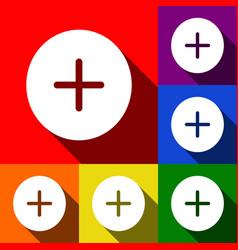 Positive symbol plus sign set icons vector