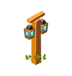 Post With Stylized Lantern Lamps Isometric Garden vector image