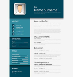 professional blue resume cv template vector image