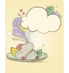 Retro hand drawn plate of pasta vector