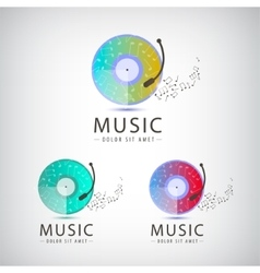 Retro vinyl music logo icons vector