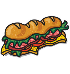Sandwich with lettuce and bacon vector