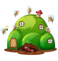 Scene with ant and bees on hill house vector