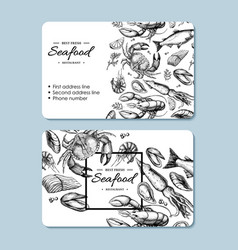 Seafood hand drawn business card crab vector