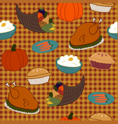 seamless pattern for thanksgiving with various vector image