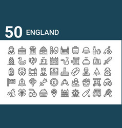 Set 50 england icons outline thin line icons vector