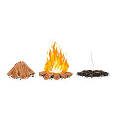 Set campfire stages isolated vector