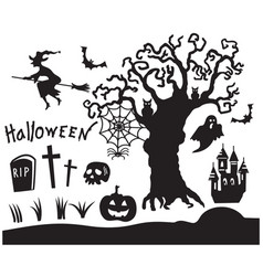set halloween black silhouette symbols vector image