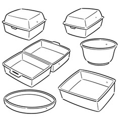Set of foam container vector
