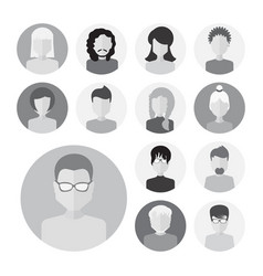 set of male and female faces avatars or people vector image