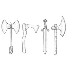 set of medieval axes hand drawn sketch vector image