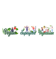 Set people holding nuts fruits vegetables and vector