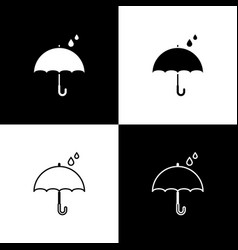 Set umbrella and rain drops icon isolated on black vector