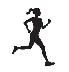Silhouette of running woman profilec simple black vector