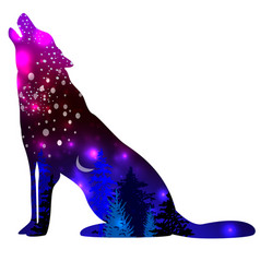 Silhouettes wolf with space galaxy background vector