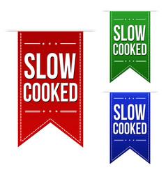 Slow cooked banner design set vector