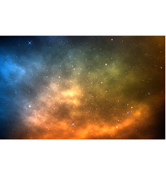 Space background with yellow and blue nebula vector