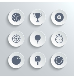 Sport icons set - white round buttons vector image