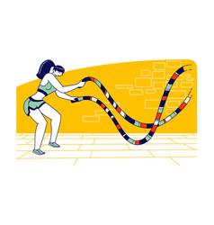 Sportswoman character with battle rope doing vector