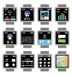 Square smartwatch applications on screen vector