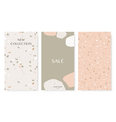 stories templates with trendy terrazzo collage vector image