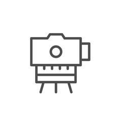 Surveyor instrument line outline icon vector