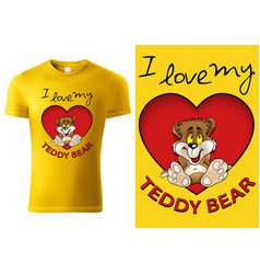 T-shirt with sitting bear in heart shape vector