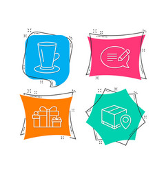 teacup holiday presents and message icons parcel vector image