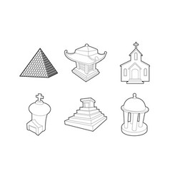 temple icon set outline style vector image