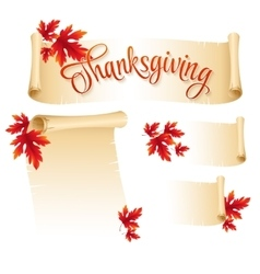 Thanksgiving scroll with autumn leaves vector image