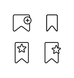 thin line bookmark icons vector image