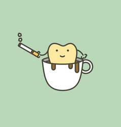 Tooth in coffee cup with cigarette vector