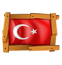 turkey flag in wooden frame vector image
