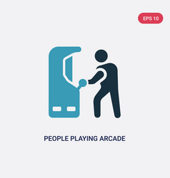 Two color people playing arcade game icon from vector
