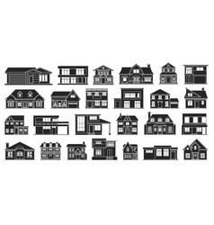 villa house black set icon vector image