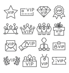 Vip line icons set on white background vector
