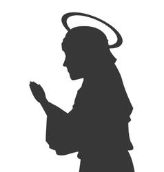 Virgin mary silhouette icon vector