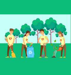 Volunteers cleaning environment and growing tree vector