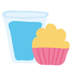 water glass beverage with cucpcake vector image