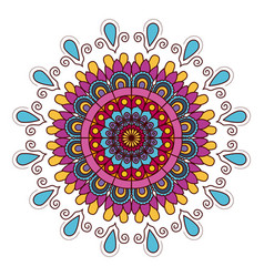 White background with colorful flower mandala vector