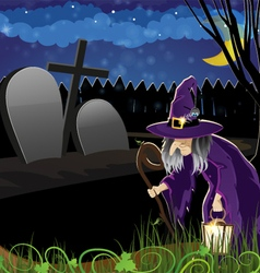 Wicked witch in the cemetery vector